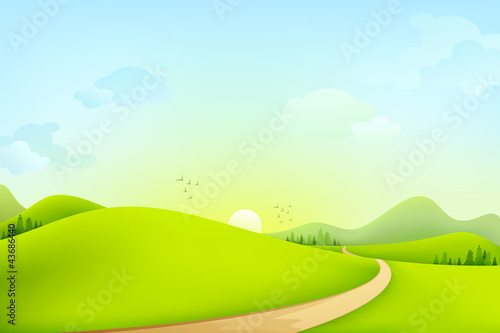 Tuinposter Lime groen vector illustration of green landscape of sunny morning