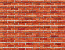 Red Brick Wall Seamless Vector...