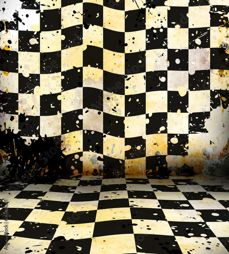 Canvas Print Grungy chessboard room