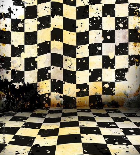Fotografija Grungy chessboard room