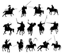 Horseman Warriors Vector  Silhouettes Set