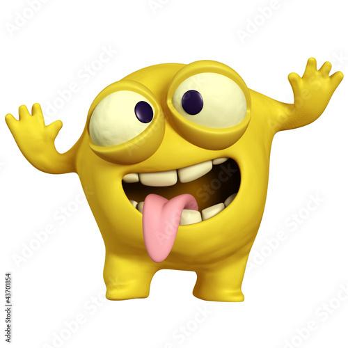 Foto op Aluminium Sweet Monsters crazy yellow monster