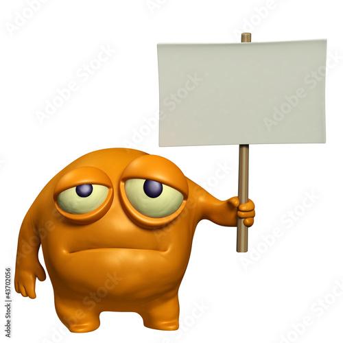 Poster de jardin Doux monstres sad monster holding placard