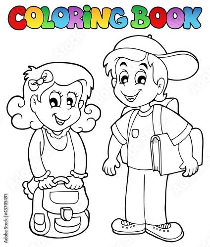 Spoed Foto op Canvas Doe het zelf Coloring book school topic 3