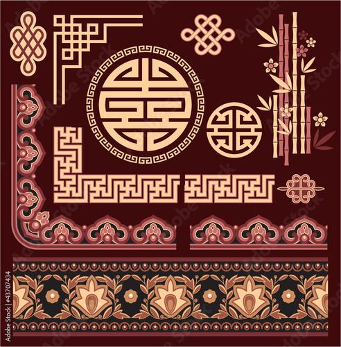 Fotografía  Set of Oriental Pattern Elements