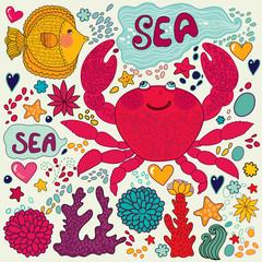 Vector wallpaper with fish, fun crab and marine life