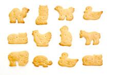 Animal Crackers Isolated On White Background