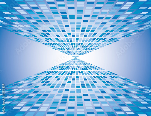 Foto op Aluminium Pixel Abstract blue boxes background vanishing