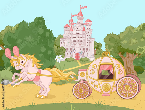 Deurstickers Kasteel Fairytale carriage