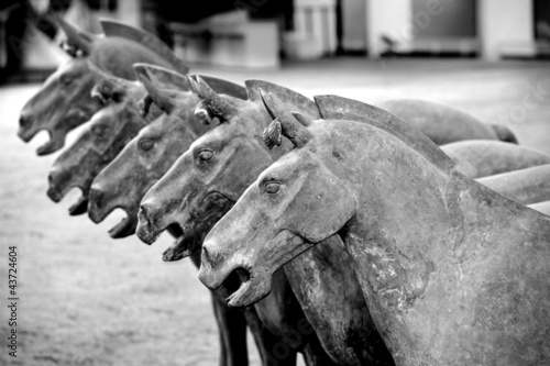 Tuinposter Xian Terracotta horses in the tomb of Emperor Qin Shi Huang in Xian