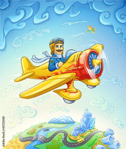In de dag Vliegtuigen, ballon Cartoon plane with pilot flying over the earth