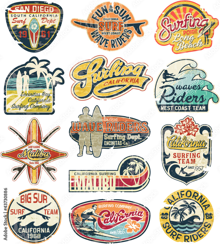 Fototapeta California vintage stickers grunge collection
