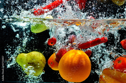 Foto op Canvas Opspattend water Various Fruit Splash on water