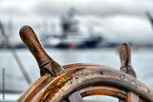 Photo Stands Ship steering wheel sailboat