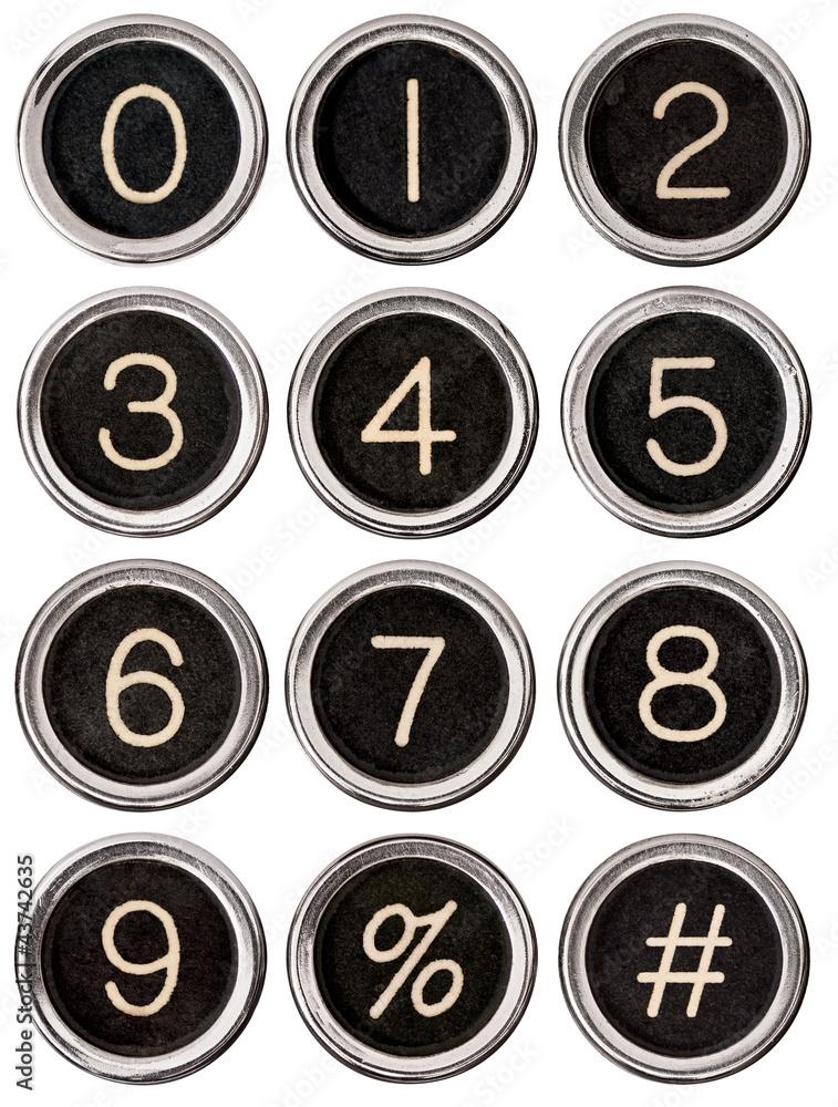 Photo & Art Print Vintage Typewriter Number Keys | EuroPosters