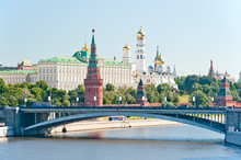 The Kremlin, Moscow, Big Stone Bridge, Palace And Cathedrals