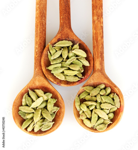 Foto op Canvas Kruiden 2 green cardamom in wooden spoons on white background close-up