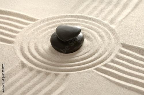 Spoed Foto op Canvas Stenen in het Zand Sandbild Zen mit Herz
