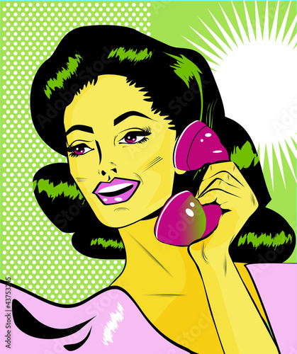 Wall Murals Comics Lady Chatting On The Phone - Retro Clip Art