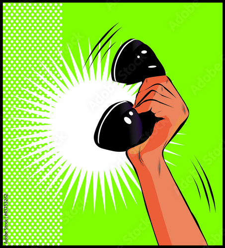 Papiers peints Comics Pop Art illustration of a hand holding a phone