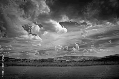 Aluminium Prints Dark grey infra red photography of landscape with beautiful sky