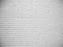 Blank White Painted Brick Wall...