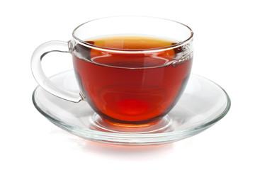 Fototapeta Black tea in glass cup