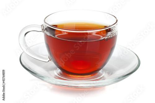 Deurstickers Thee Black tea in glass cup