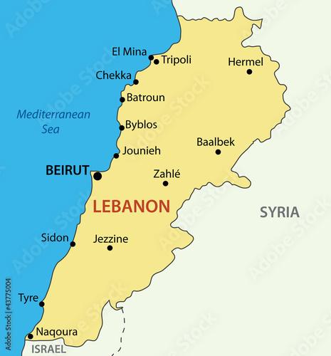 Canvas Print Lebanese Republic - Lebanon - vector map