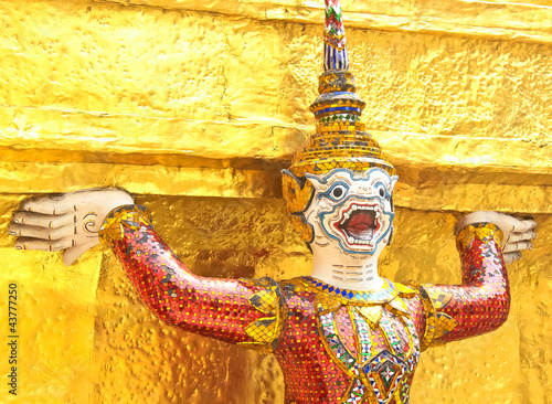 golden statue thai traditional style Poster