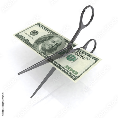 Fotografía  scissors cutting dollar 3d illustration
