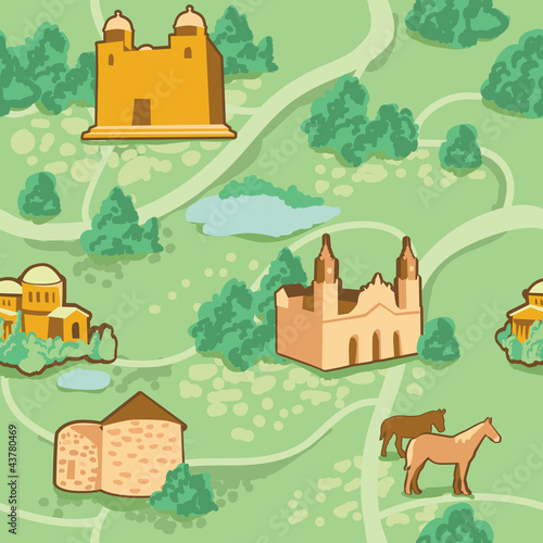 Cadres-photo bureau Route Vector seamless pattern with map