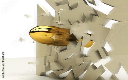 Valokuvatapetti proiettile 3D penetrante muro