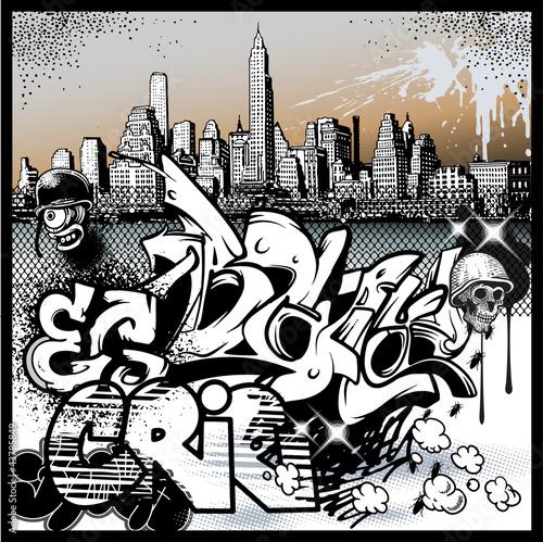 Fototapety komiks   czarno-biale-graffiti-z-miastem