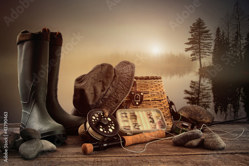 Printed kitchen splashbacks Fishing Fly fishing equipment on deck with view of a misty lake