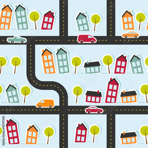 Poster de jardin Route Paper town seamless pattern. Vector illustration.