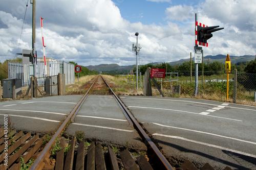 Valokuvatapetti Rail, level crossing.