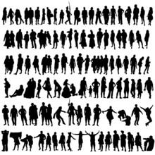 People Vector Black Silhouette...