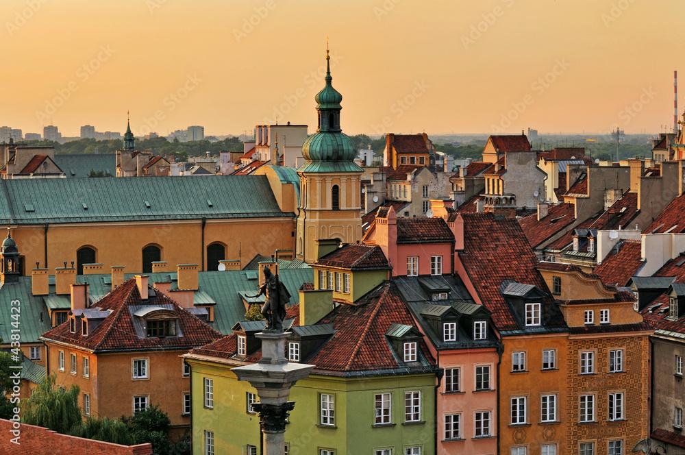 Fototapety, obrazy: Stare miasto o zachodzie słońca, Warszawa, Polska