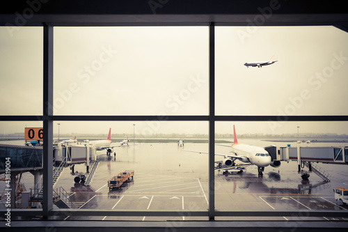 Aluminium Prints Airport airport outside the window scene
