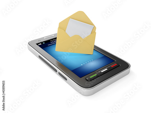 3d illustration: Mobile phone and an envelope with a letter  Mob