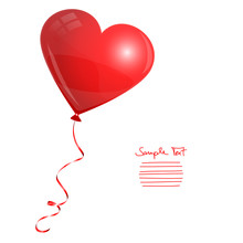 Card Red Heart Balloon