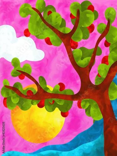 jablon-z-czerwonymi-jablkami-na-rozowym-tle-akwarela