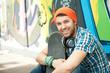 canvas print picture - junger skatedoarder