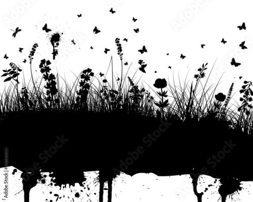 Keuken foto achterwand Vlinders in Grunge grunge vector background