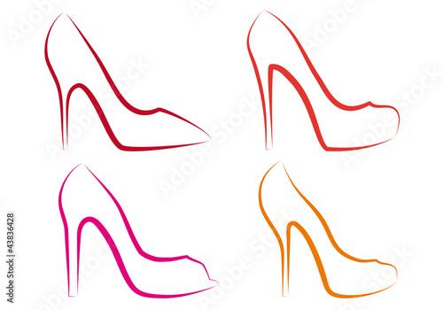 Valokuva high heel shoes, vector set