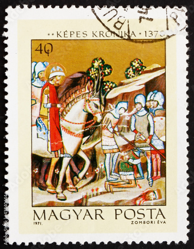 Postage stamp Hungary 1971 Beheading of Heathen Chief Koppany Wallpaper Mural