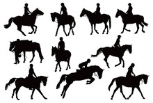 Ten Horses With Riders