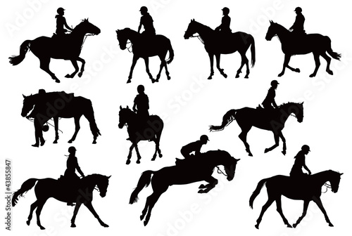 Ten horses with riders Poster Mural XXL
