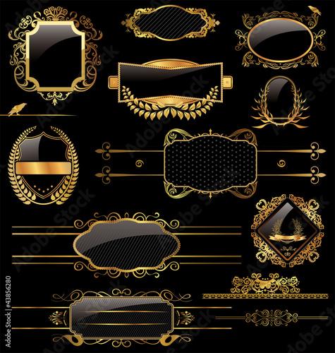 In de dag Retro Elegant gold and black labels